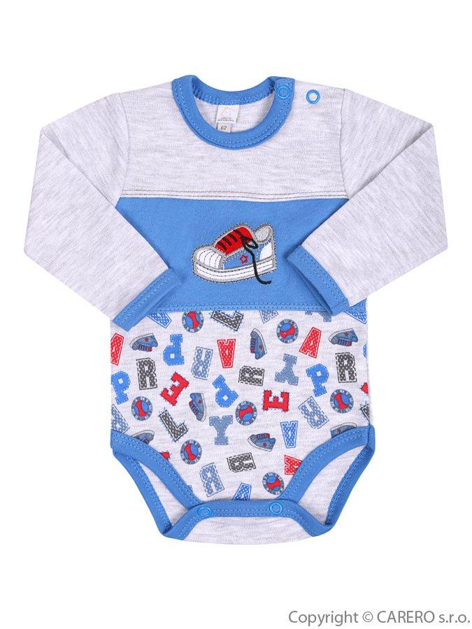 Dojčenské body s dlhým rukávom Bobas Fashion Písmená modré