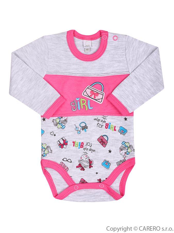 Dojčenské body s dlhým rukávom Bobas Fashion Písmená ružové