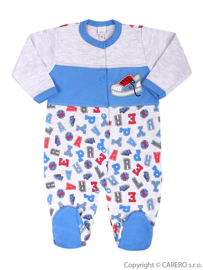 Dojčenský overal Bobas Fashion Písmená modrý