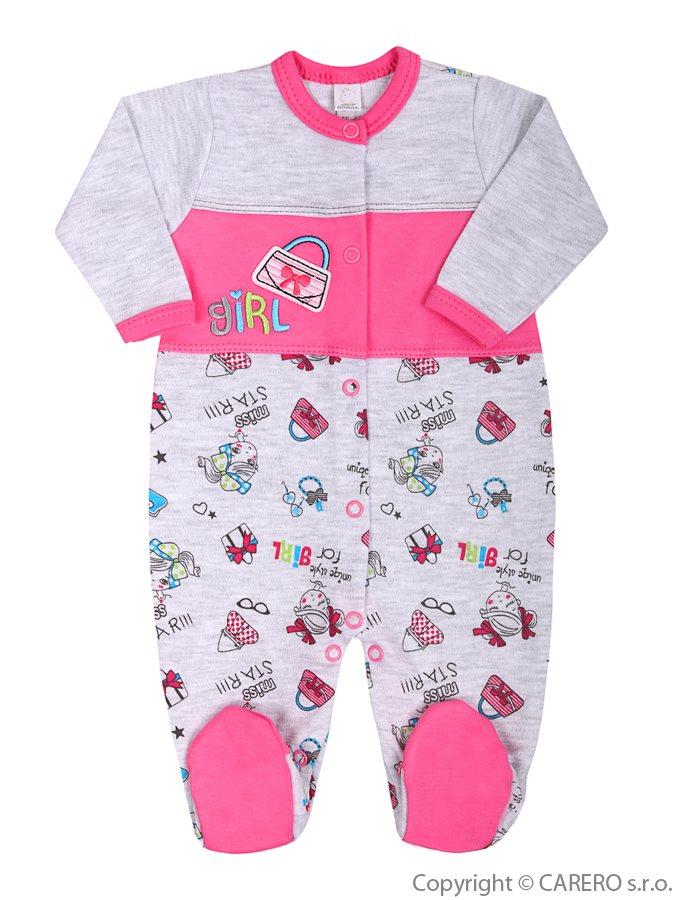 Dojčenský overal Bobas Fashion Písmená ružový