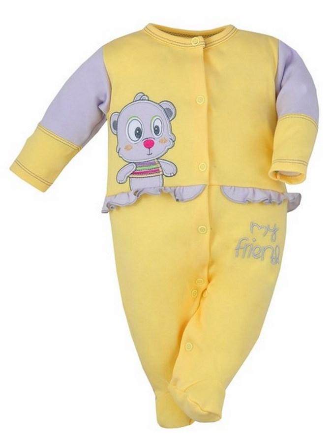 Dojčenský overal Bobas Fashion Rarášek žltý s volánikom