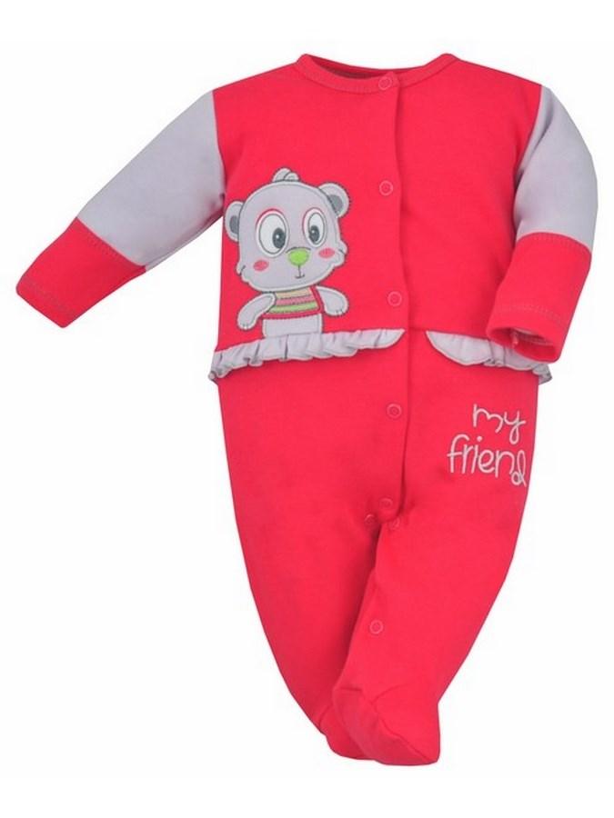 Dojčenský overal Bobas Fashion Rarášek červený s volánikom