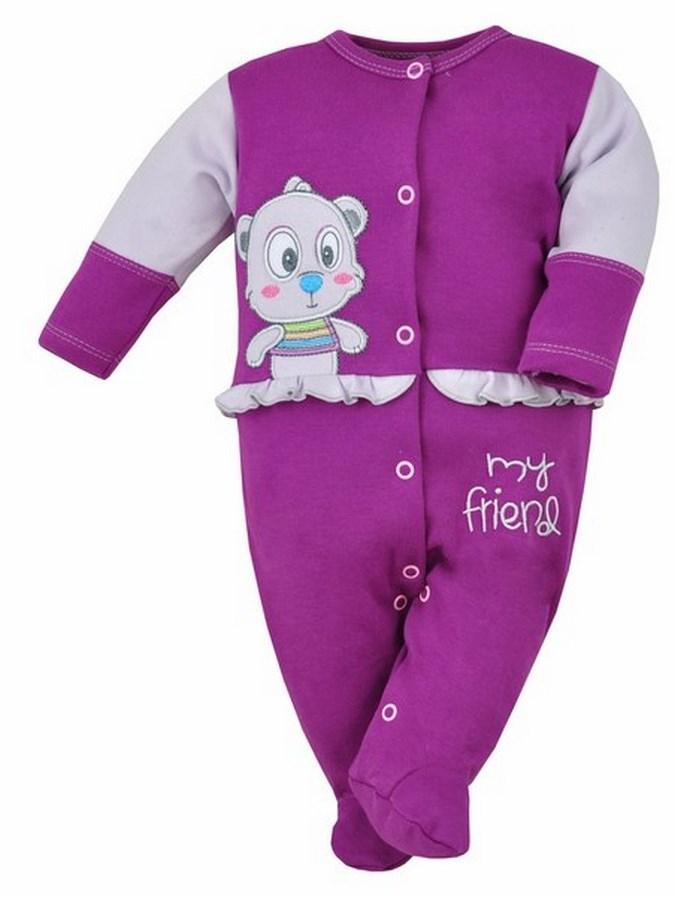 Dojčenský overal Bobas Fashion Rarášek fialový s volánikom