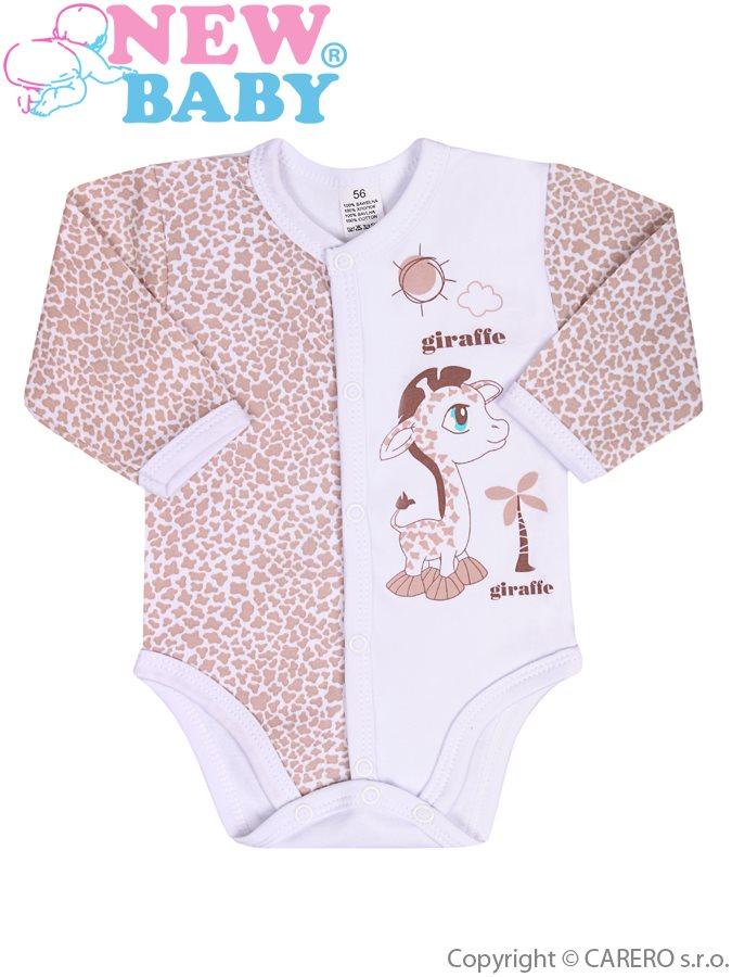 Dojčenské rozopínajúce body s dlhým rukávom New Baby Giraffe bežové