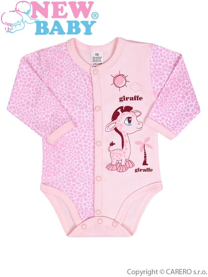 Dojčenské rozopínajúce body s dlhým rukávom New Baby Giraffe ružové