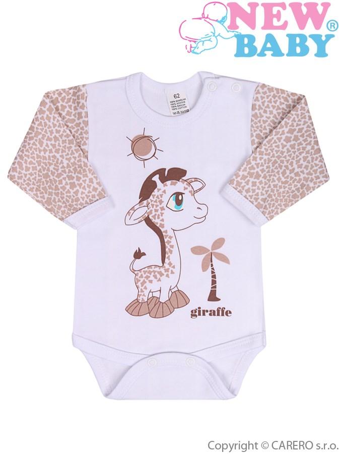 Dojčenské body s dlhým rukávom New Baby Giraffe bežové