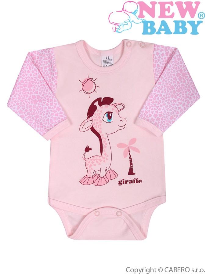 Dojčenské body s dlhým rukávom New Baby Giraffe ružové