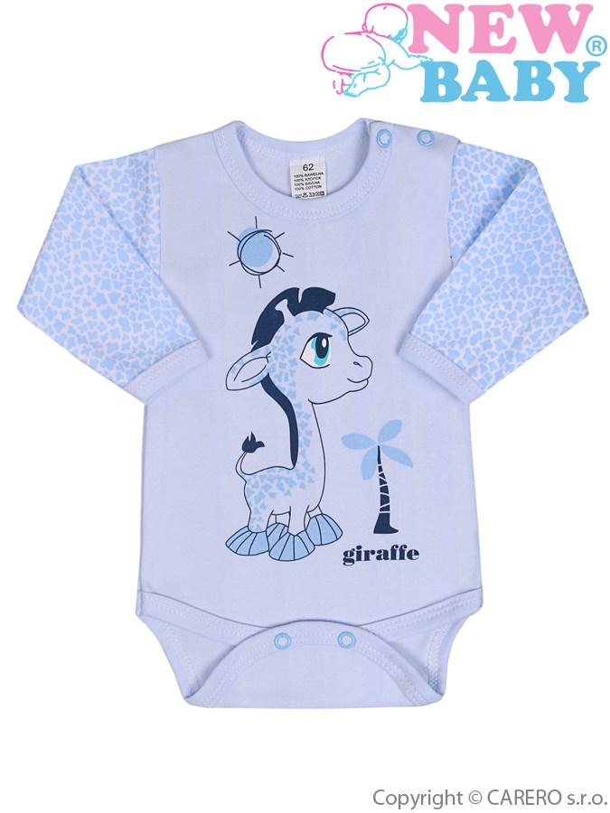 Dojčenské body s dlhým rukávom New Baby Giraffe modré