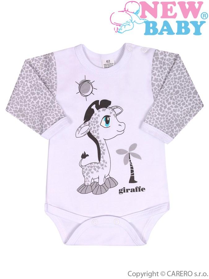 Dojčenské body s dlhým rukávom New Baby Giraffe sivé