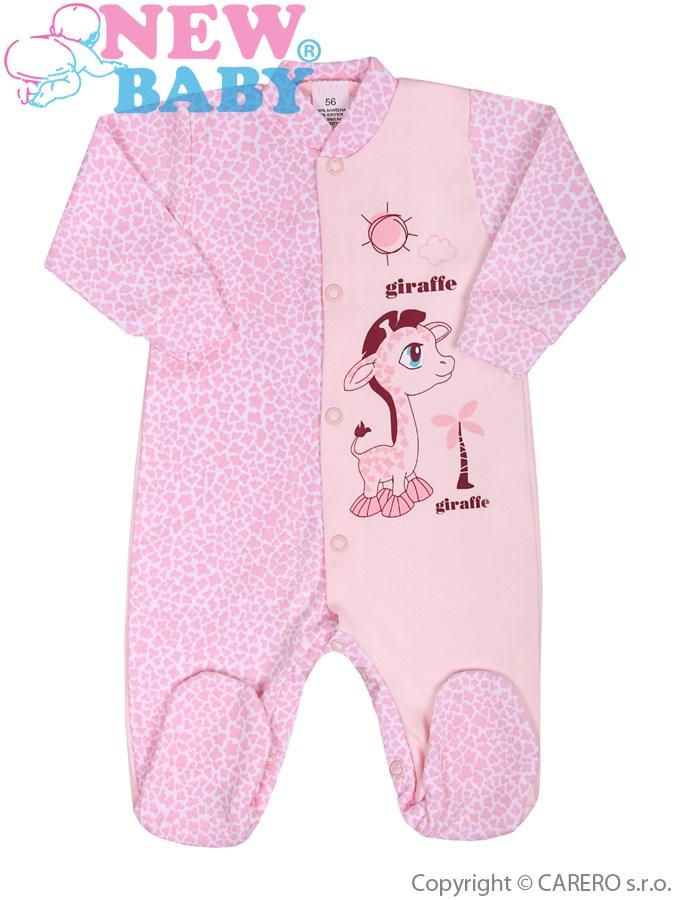 Dojčenský overal New Baby Giraffe ružový