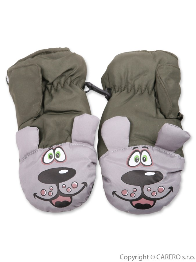 Detské zimné rukavičky Psík zelené