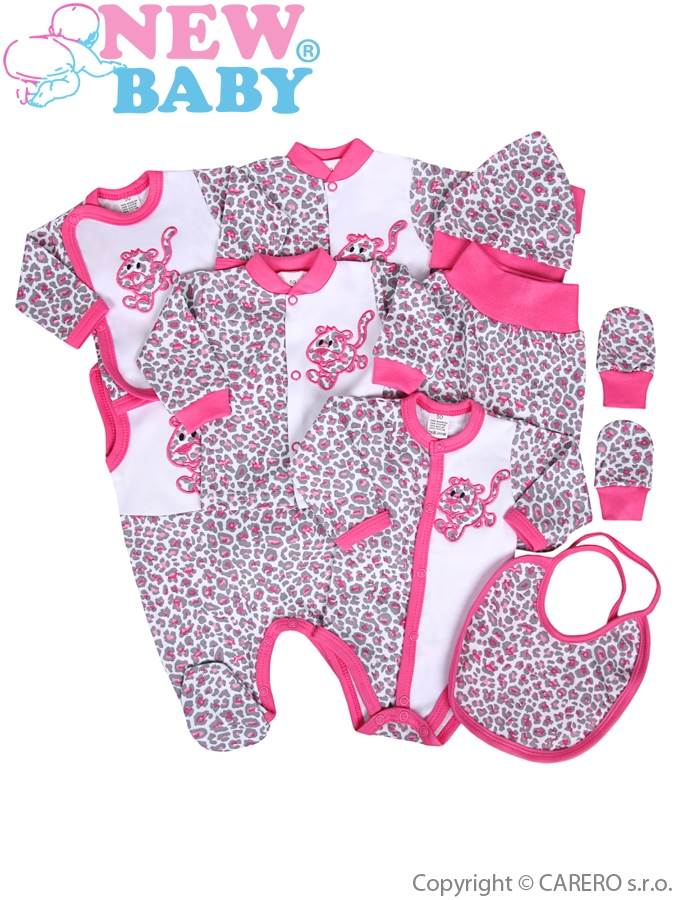9-dielna súprava do pôrodnice New Baby Leopardík ružová