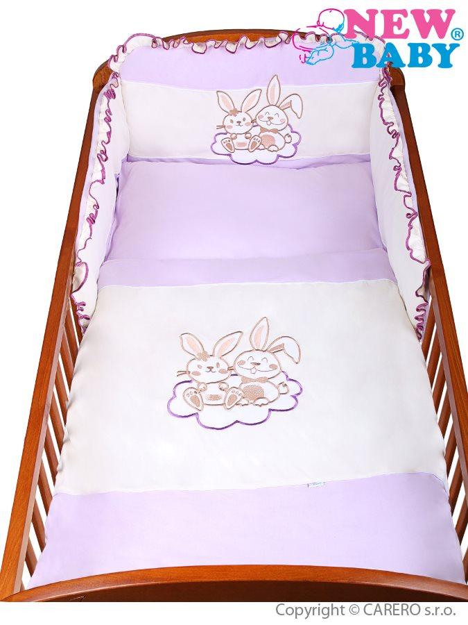 3-dielne posteľné obliečky New Baby Bunnies 90/120 fialové