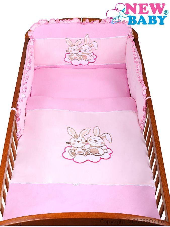 3-dielne posteľné obliečky New Baby Bunnies 100x135 ružové