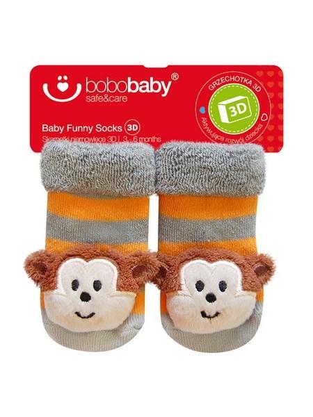 Dojčenské ponožky s hrkálkou Bobo Baby šedo-oranžové s opičkou