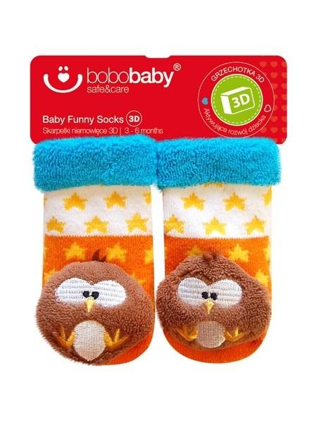 Dojčenské ponožky s hrkálkou Bobo Baby oranžovo-modré so sovou