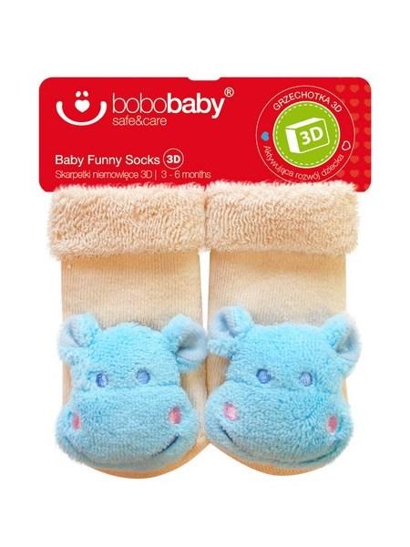 Dojčenské ponožky s hrkálkou Bobo Baby béžove s hrošíkom