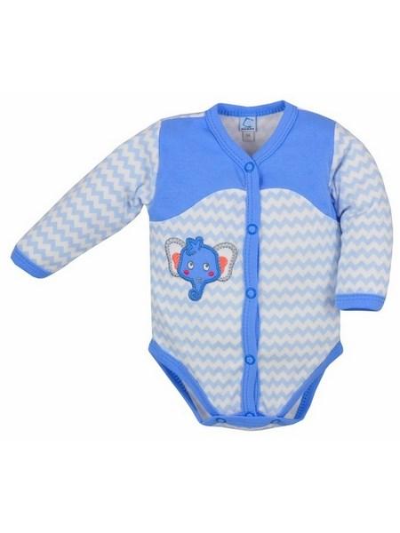 Dojčenské rozopínacie body s dlhým rukávom Bobas Fashion Dominik modré