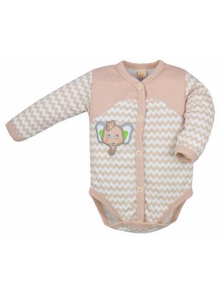 Dojčenské rozopínacie body s dlhým rukávom Bobas Fashion Dominik bežové