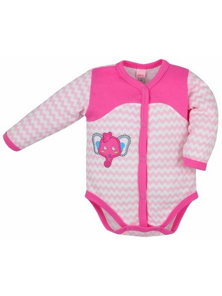 Dojčenské rozopínacie body s dlhým rukávom Bobas Fashion Dominik růžové