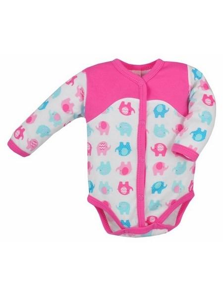 Dojčenské rozopínacie body s dlhým rukávom Bobas Fashion Dominik ružové so slonmi