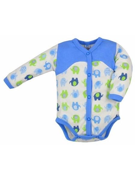 Dojčenské rozopínacie body s dlhým rukávom Bobas Fashion Dominik modré so slonmi