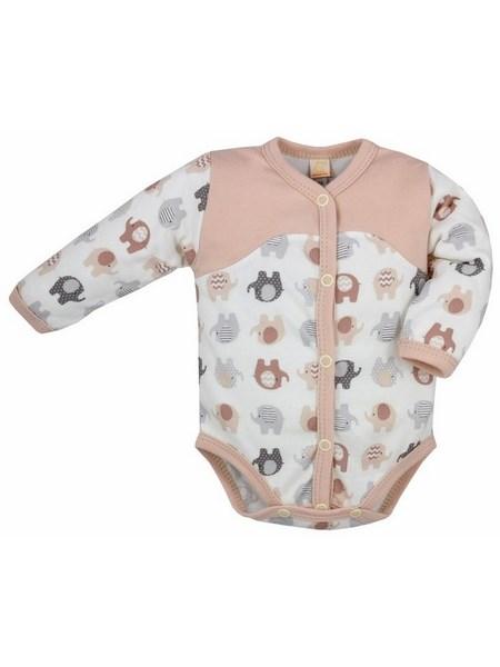 Dojčenské rozopínacie body s dlhým rukávom Bobas Fashion Dominik béžové so slonmi