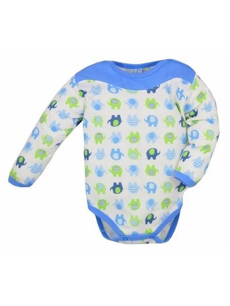 Dojčenské body s dlhým rukávom Bobas Fashion Dominik modré so slonmi