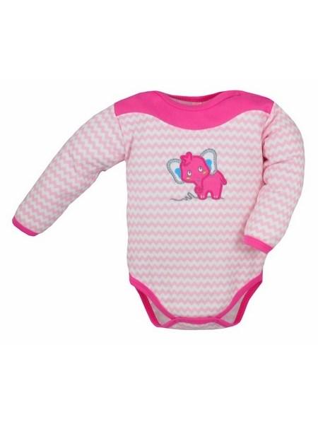 Dojčenské body s dlhým rukávom Bobas Fashion Dominik ružové so slonmi
