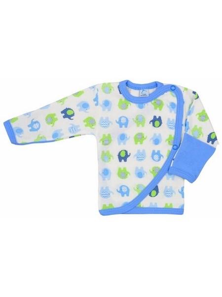 Dojčenská košieľka Bobas Fashion Dominik modrá so slonmi