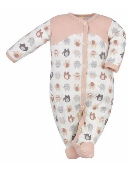 Dojčenský overal Bobas Fashion Dominik bežový so slonmi