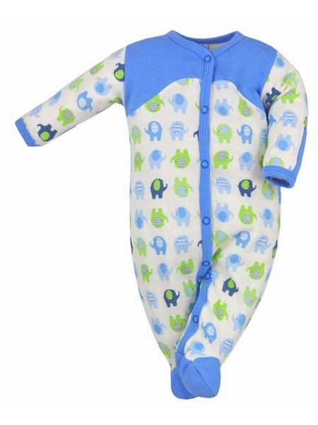 Dojčenský overal Bobas Fashion Dominik modrý so slonmi