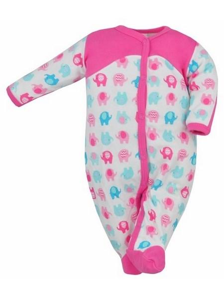 Dojčenský overal Bobas Fashion Dominik růžový so slonmi