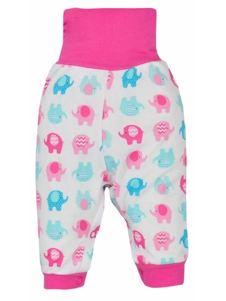 Dojčenské tepláčky Bobas Fashion Dominik ružové so slonmi
