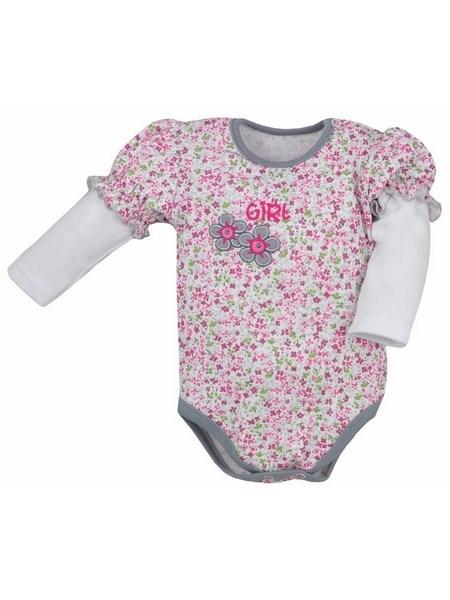 Dojčenské body s dlhým rukávom Bobas Fashion Nelinka sivé