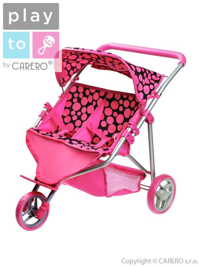 Športový kočiarik pre 2 bábiky PlayTo Klaudie ružový