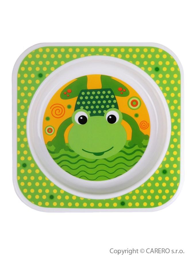 Detský tanier Akuku zelený s žabičkou
