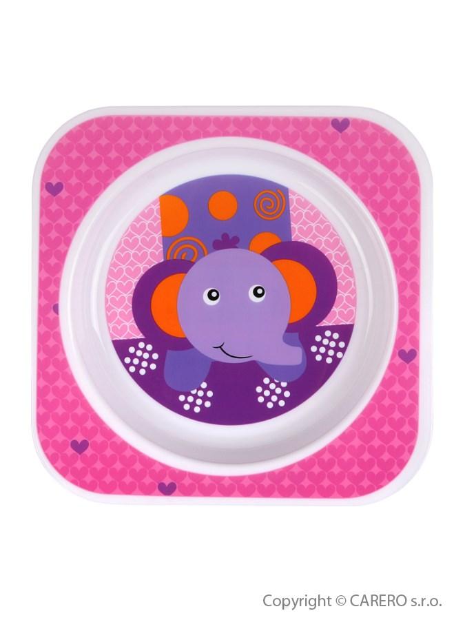 Detský tanier Akuku ružový zo slonom