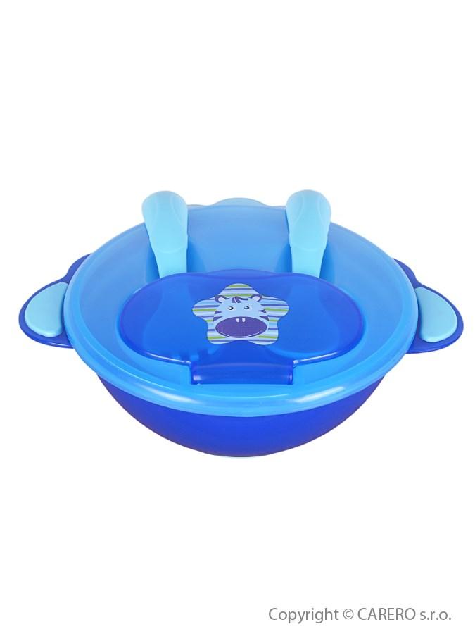 Detská miska s lyžičkou a vidličkou Akuku modrá