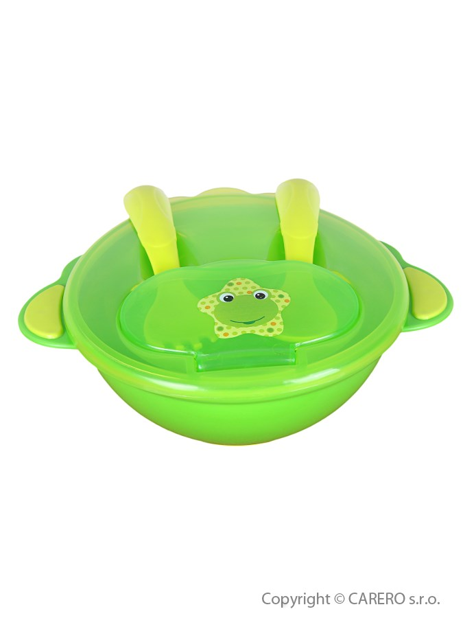 Detská miska s lyžičkou a vidličkou Akuku zelená
