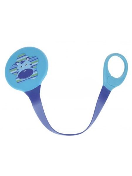 Klip na cumlík Akuku modrý s hrošíkom
