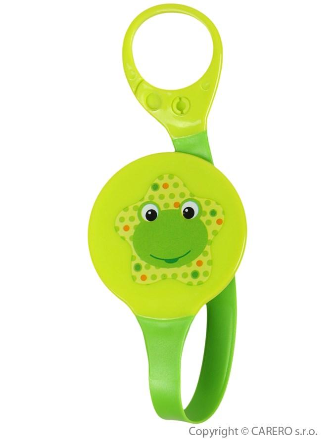 Klip na cumlík Akuku zelený s žabičkou