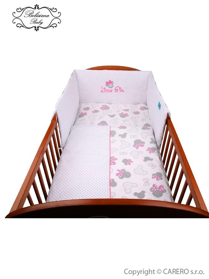 2-dielne posteľné obliečky Belisima Myška s mašličkou 100/135 ružové