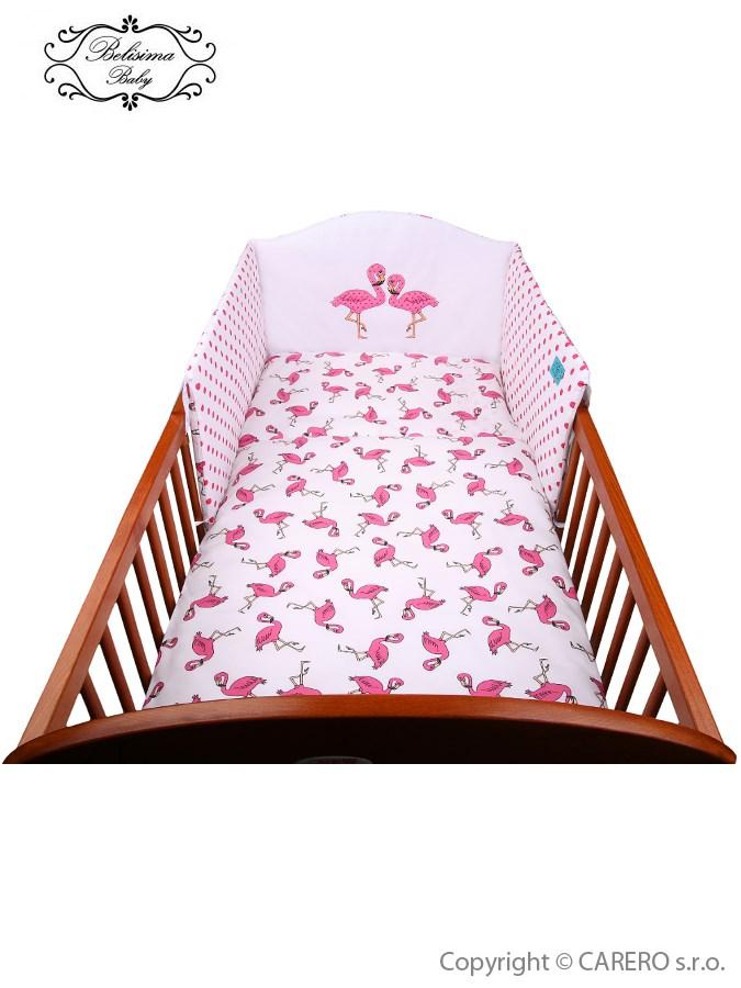 3-dielne posteľné obliečky Belisima Plameniák 100/135 ružové