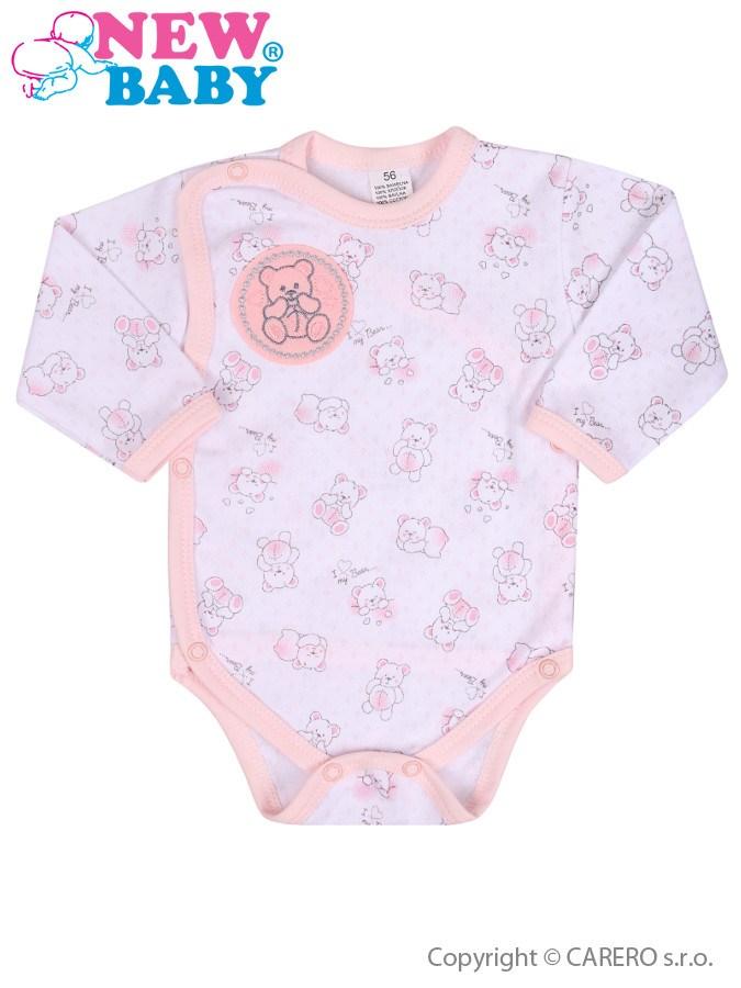 Dojčenské body celorozopínacie New Baby Roztomilý Medvedík ružové
