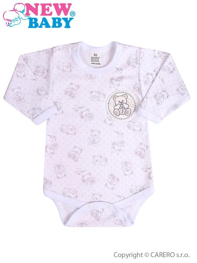 Dojčenské body s dlhým rukávom New Baby Roztomilý Medvedík biele