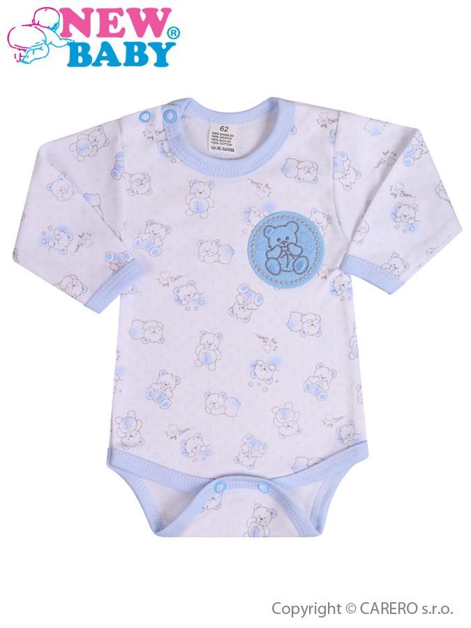 Dojčenské body s dlhým rukávom New Baby Roztomilý Medvedík modré