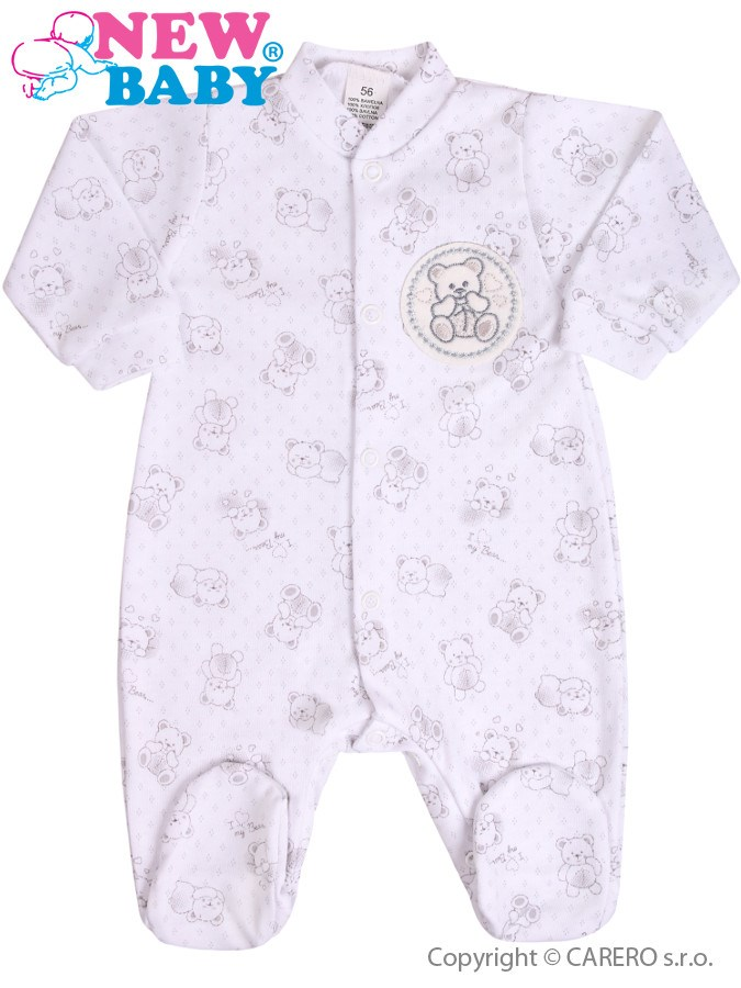 Dojčenský overal New Baby Roztomilý Medvedík biely