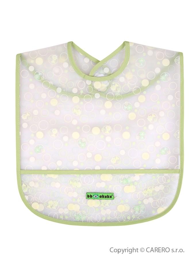 Detský podbradník s kapsičkou Akuku zelený s bublinkami
