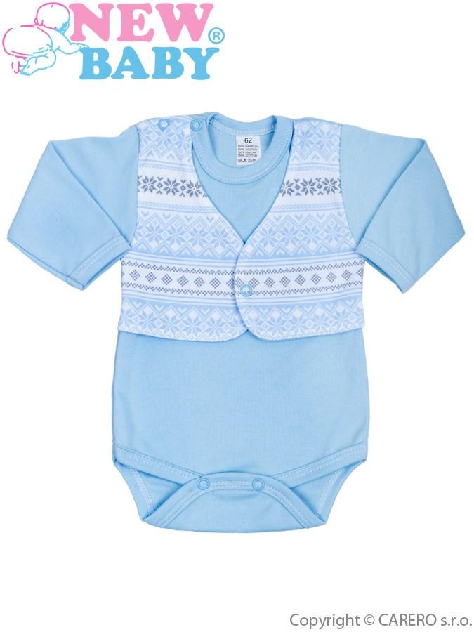 Dojčenské body s dlhým rukávom New Baby Etnik modré
